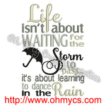 Life Storm Rain Embroidery Design