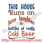 Love Laughter and Beer Embroidery Design