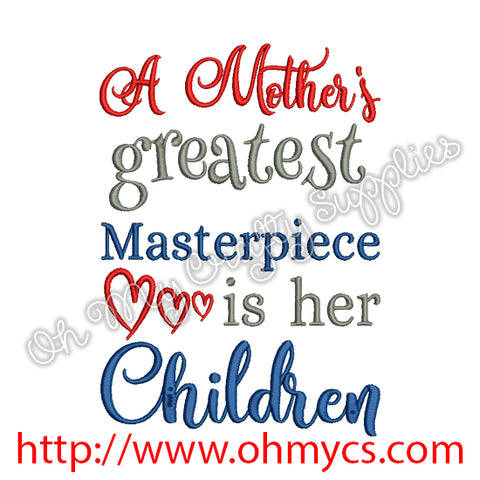 Mother's Masterpiece Children Embroidery Design