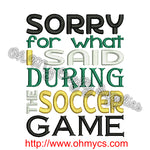 Soccer Apology Embroidery Design