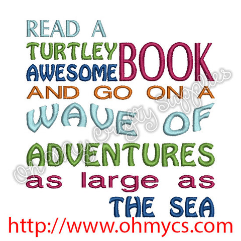 Turtle Book Embroidery Design