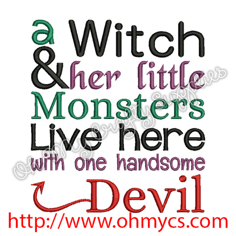 a Witch her Monsters and handsome Devil Embroidery Design