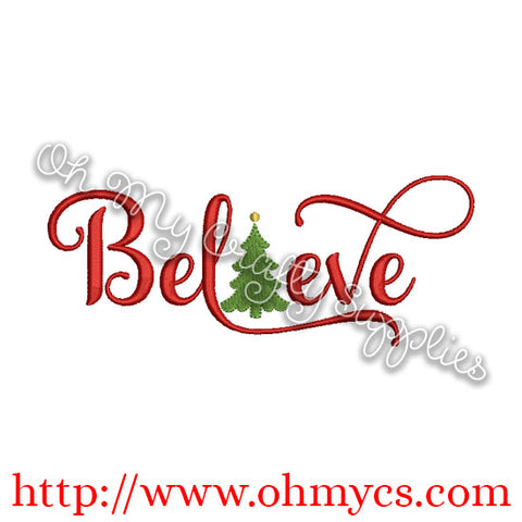 Believe with Tree Embroidery Design