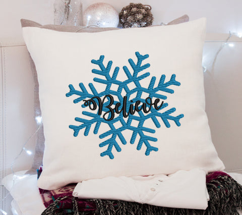 Believe Snow Flake Embroidery Design