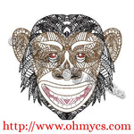 Henna Chimpanzee Embroidery Design