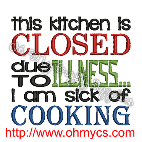 Closed Kitchen Embroidery Design