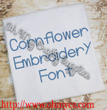 Cornflower Embroidery Font (BX Included)
