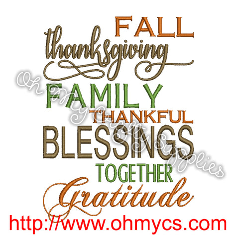 Fall Family Thanksgiving Embroidery Design