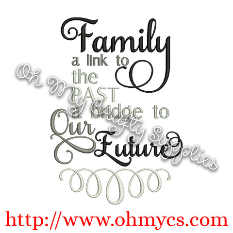 Family Time Line Embroidery Design
