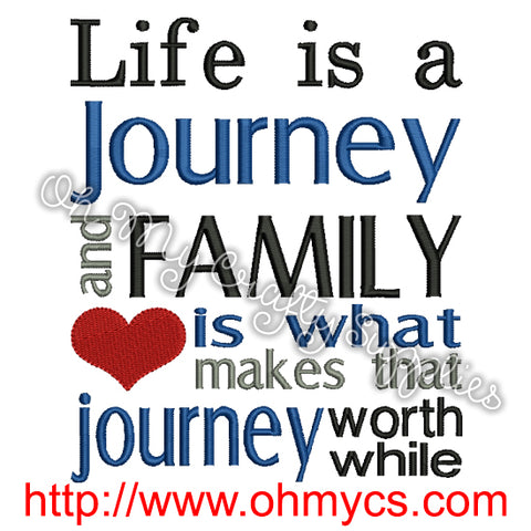 Family Journey Embroidery Design