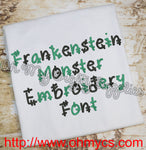 Frankenstein Monster Embroidery Font (BX Included)