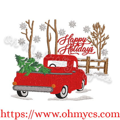 Snowy Truck Embroidery Design