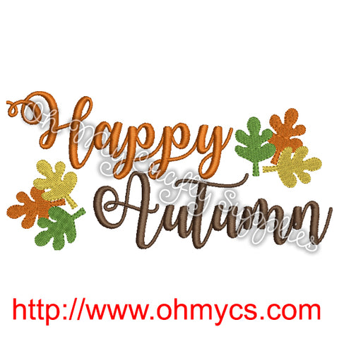 Happy Autumn Embroidery Design