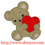 Bear with Heart Embroidery applique