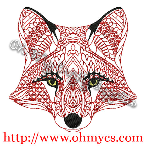 Henna Fox Embroidery Design