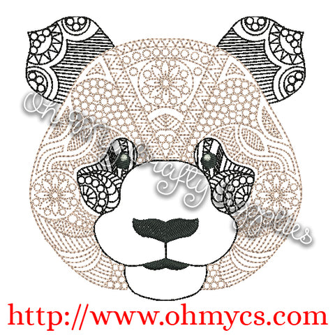 Henna Panda Embroidery Design