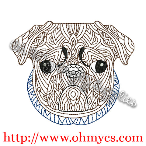 Henna Pug Embroidery Design