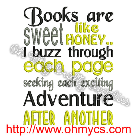 Buzzing Books Embroidery Design
