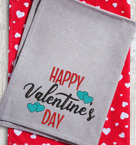 Happy Valentine's Day Double Hearts 2021 Embroidery Design