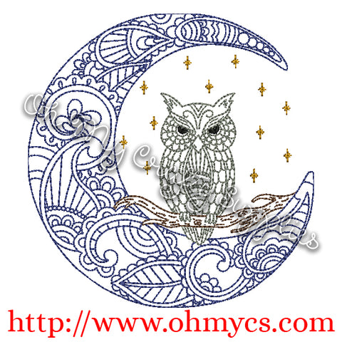 Henna Moon Owl Embroidery Design