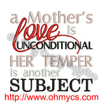 A Mother's Love Embroidery Design