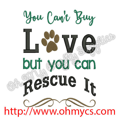 Rescued Love Embroidery Design