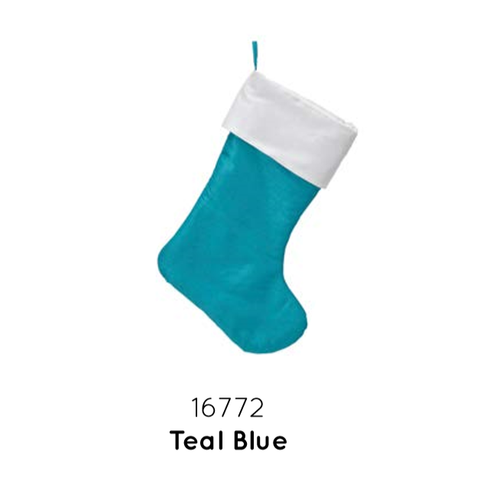 "Traditional Christmas Stocking 19""-Teal Blue"