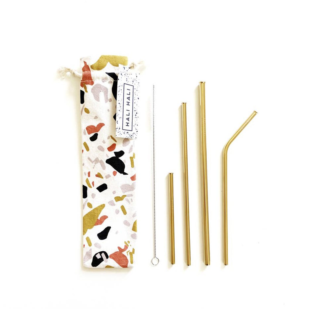 Terrazzo Reusable Straw Set Mixed (6 Piece)