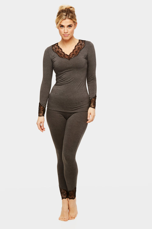 Long Sleeve Body Bliss Loungewear - Charcoal