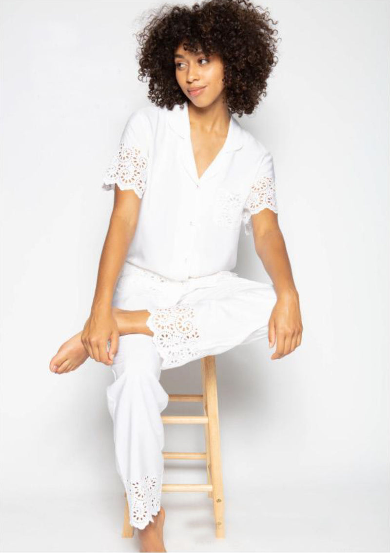 Cyberjammies - Embroidered PJ Set short sleeve - White