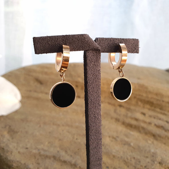 Black Hoop Pendant Earrings - AgiMagi