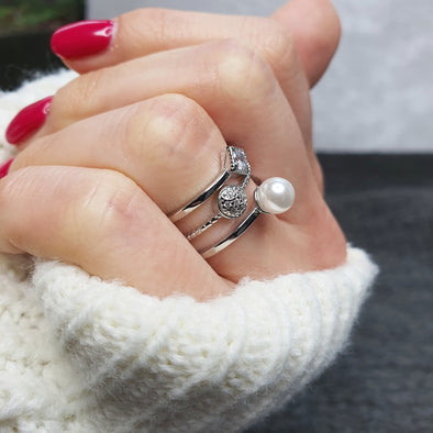 Adjustable Pearl Crystal Ring - AgiMagi