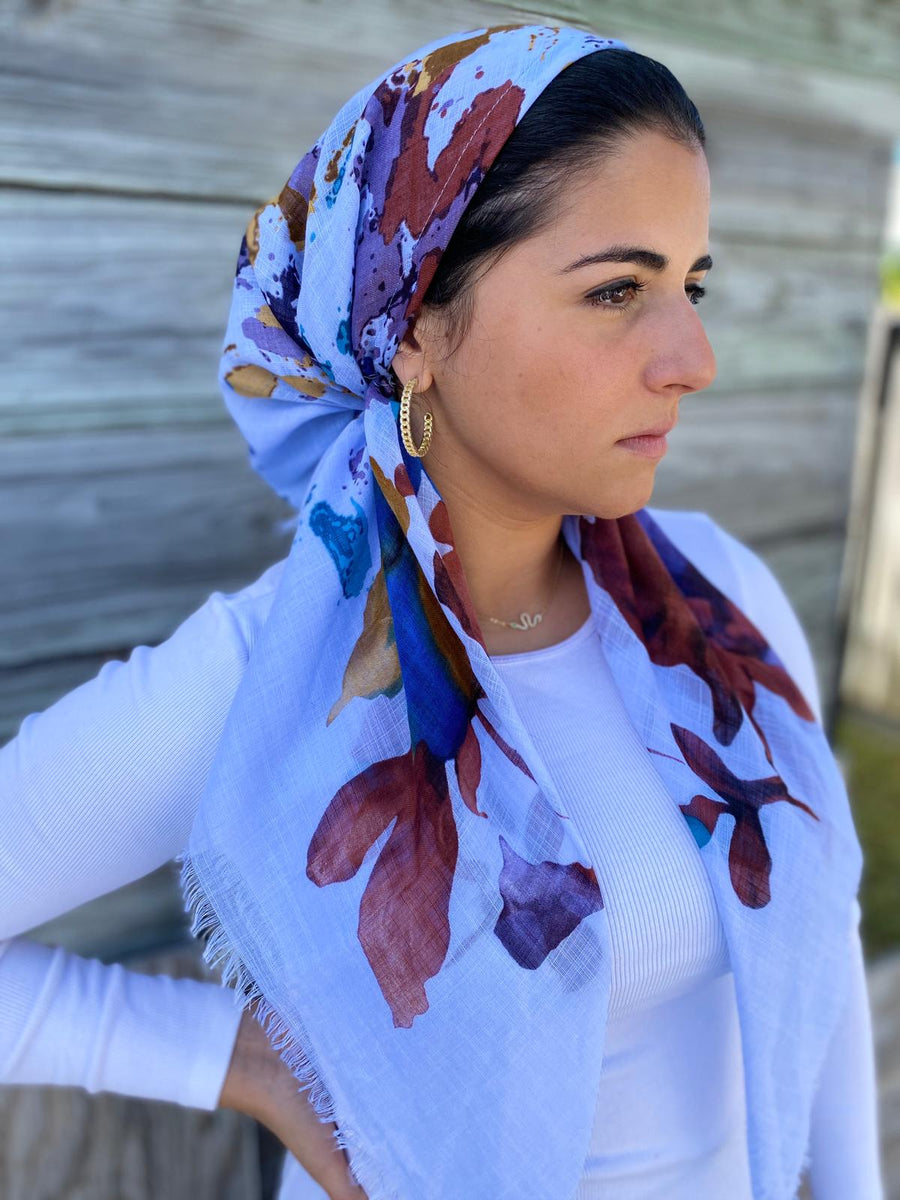 Pretied Fall Floral Sky Blue