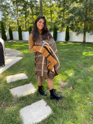 Luxe Two Tone Plaid SB Blanket Scarf