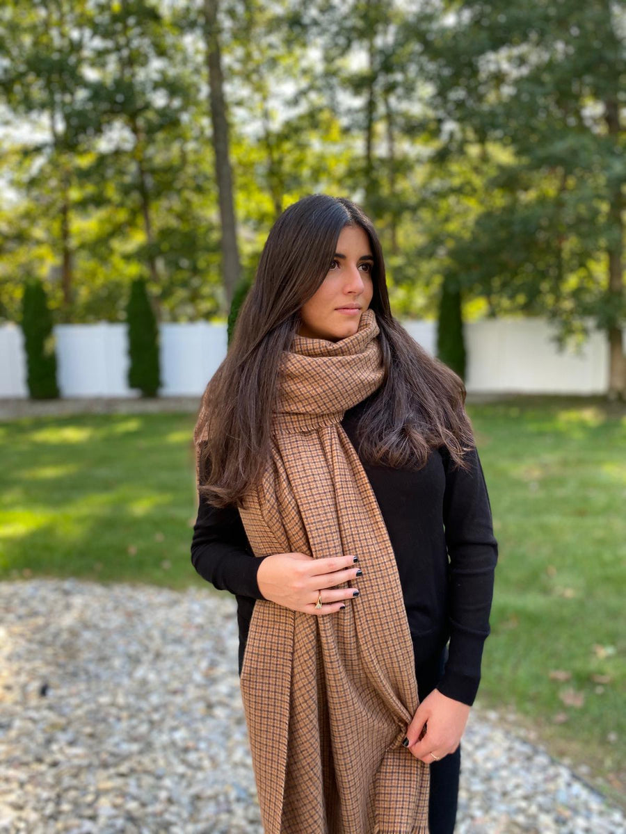 Luxe Caramel Checkers SB Blanket Scarf