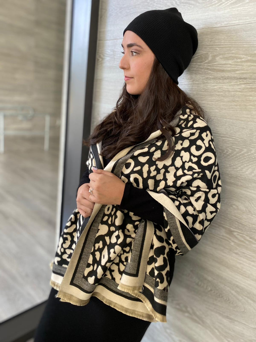 SB Luxe Black Cheetah Blanket Scarf