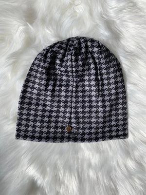 Houndstooth Black/Grey Beanie