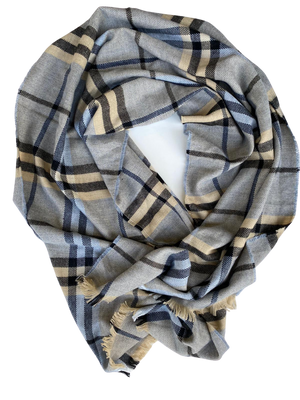 Mini Blanket Scarf Grey Designer