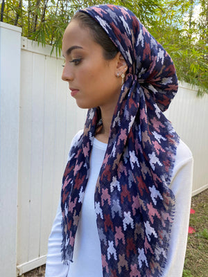 Pretied Multi Houndstooth Pink/Navy