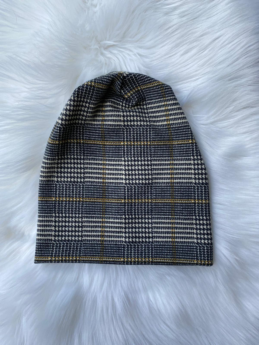 Houndstooth Plaid Beanie