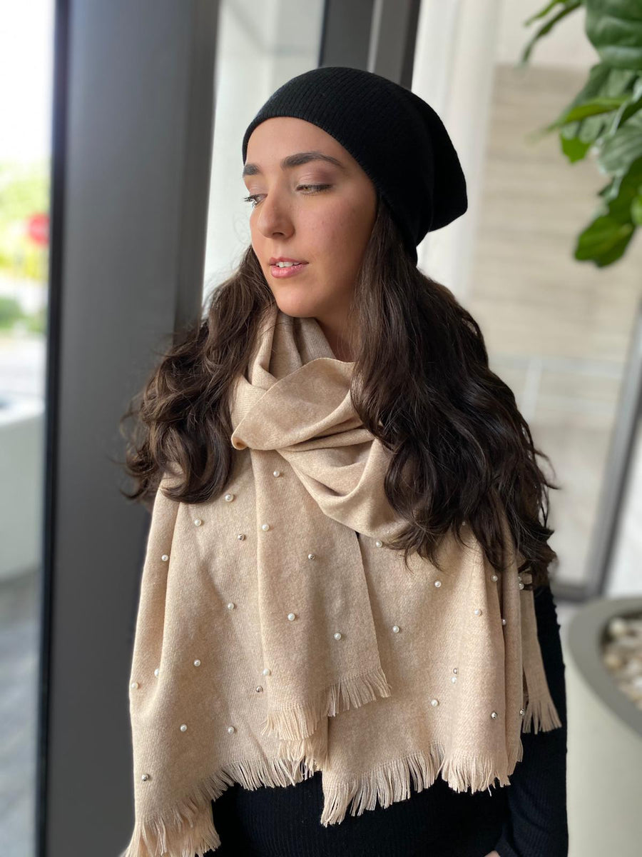 SB Luxe Soft Nude Pearl Blanket Scarf
