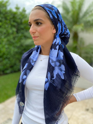 Pretied Fall Floral Navy Blue