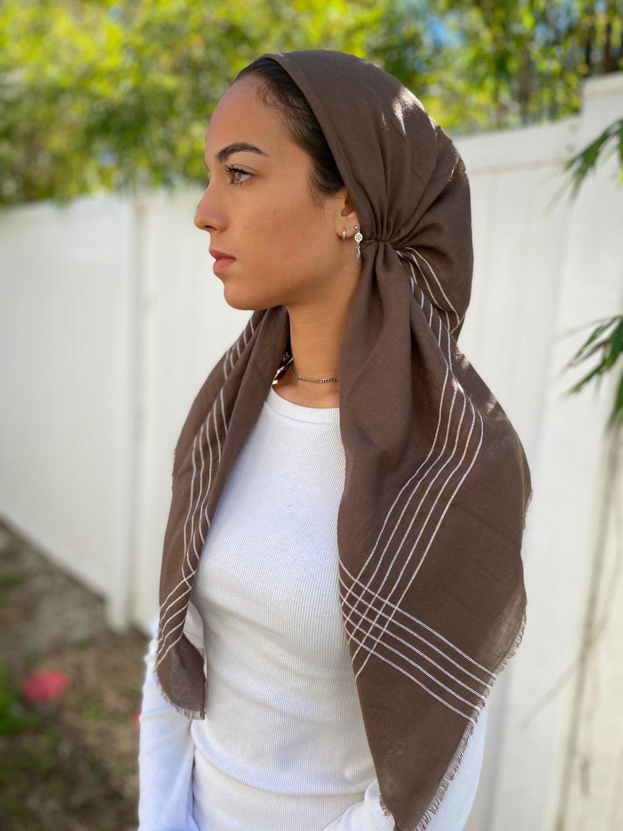 Versatile Pretied Headscarf Brown with Stripes