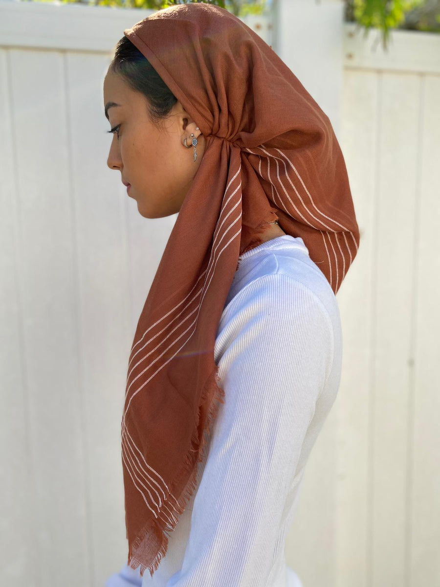 Versatile Pretied Headscarf Burnt Orange with Stripes
