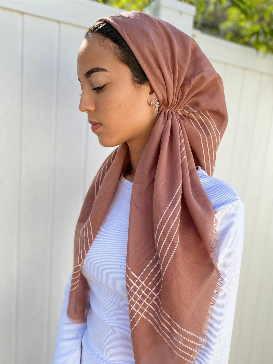 Versatile Pretied Headscarf Dusty Rose with Stripes