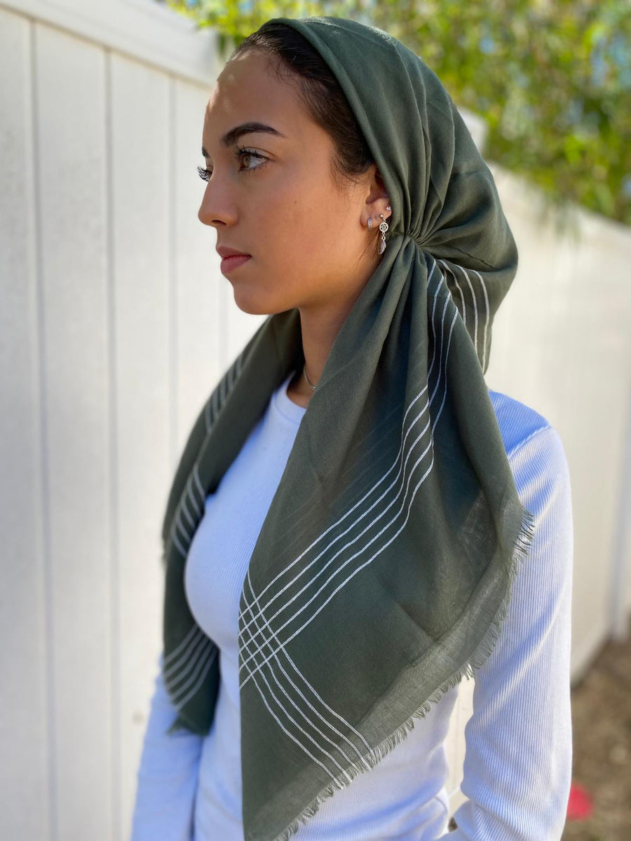 Versatile Pretied Headscarf Green with Stripes