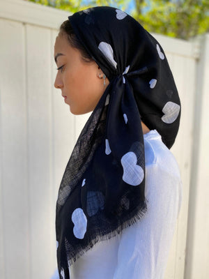 Versatile Pretied Headscarf White Hearts on Black
