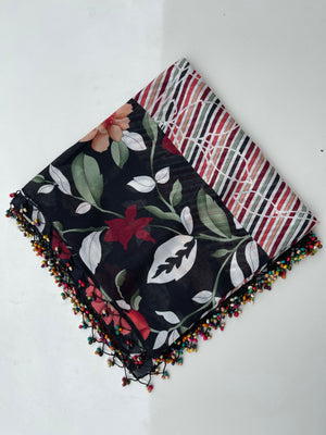 Floral Striped Beaded Black/Cherry Headscarf