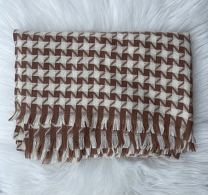 Soft Knit Large Houndstooth Blanket Scarf