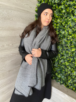 Luxe SB Grey Stitch Blanket Scarf